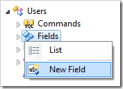 New Field context menu option for Users controller.