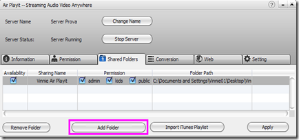 Air Playit client Server per Windows e Mac - Shared Folders