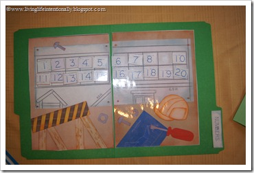 Under Construction Counting File Folder Game