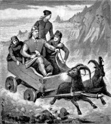 Thor y sus compañeros viajando en su carro Ilustración de 1893 para la edición sueca de la Edda poética de Fredrik Sander