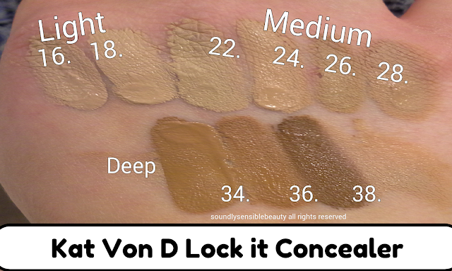Kat Von D Lock It Tattoo Concealer Review & Swatches of Shades Light 16, Light 18, Medium 22, Medium 24, Medium 26, Medium 28, Deep 34, Deep 36, Deep 38