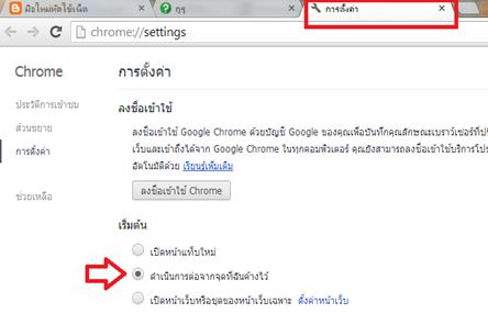 ค่าให้แท็บที่เคยเปิดใช้งาน (Recently close tabs)  เปิดขึ้นมาทันที ทุกครั้งที่เปิด Google chrome