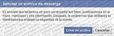 Copia de seguridad de Facebook - solicitar archivo descarga