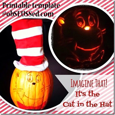 Cat in the Hat Pumpkin glow template obSEUSSed