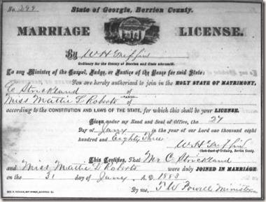 Mattie Roberts marriage lic pg 299 cropped