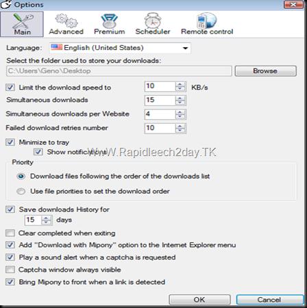 Mipony 1.5.1 - OPTIONS SCREEN