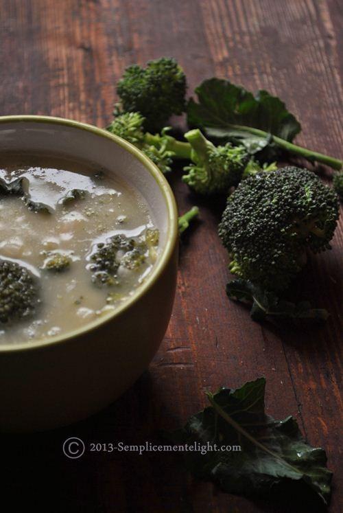 Minestra light di riso con broccoli e fagioli cannellini