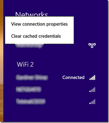 Windows 8 VPN context menu