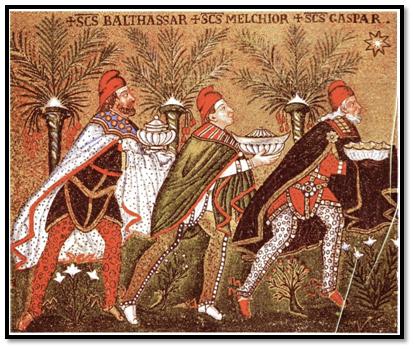 Los Reyes Magos, mosaico de la basílica de Sant'Apollinare Nuovo, Rávena.