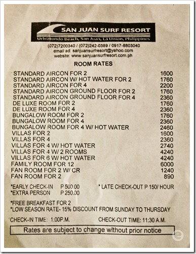 san juan surf resort room rates