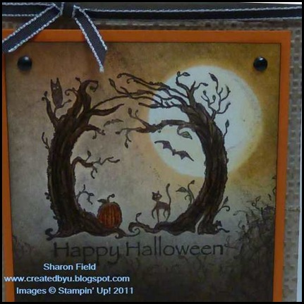 super_saturday, double, tutorial, halloween, boo, big_shot, alphabet, sizzlit, faux_stitching, brayer, createdbyu_blogspot, Sharon_field, sponging, technique, tips, embossing, square_lattice, easel, A2, card, postage, ribbon, Haunted_forest