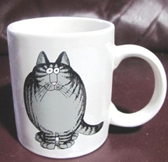 Kliban cat fat cat front of mug