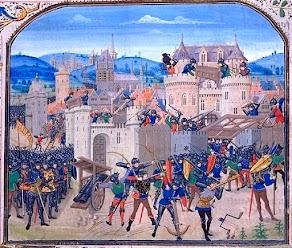 Средневековая готическая миниатюра. Взятие крестоносцами Константинополя.