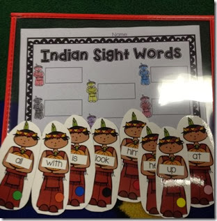 And my favorite, cute little Indian boys with sight words, the students identify the sight word, and write it in the box.