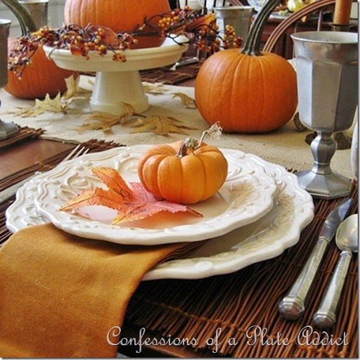 CONFESSIONS OF A PLATE ADDICT Pumpkins and Pewter & CONFESSIONS OF A PLATE ADDICT: My Rustic Thanksgiving Tablescape ...