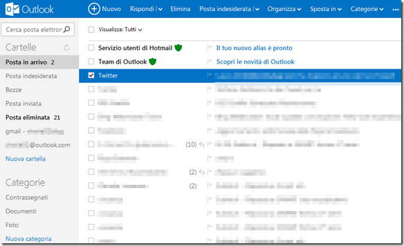 Outlook.com Posta in arrivo