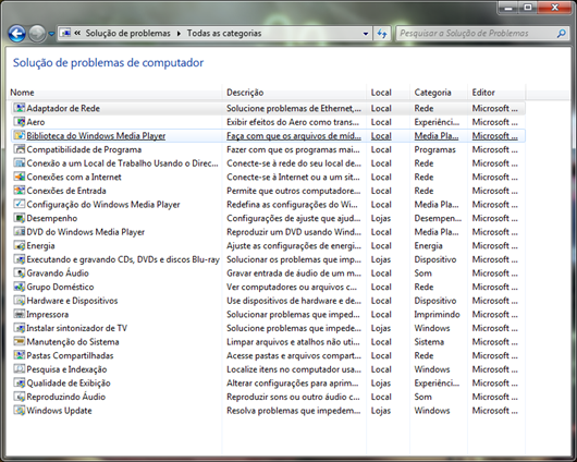 Lista com todas as soluções de problemas do Windows