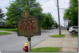 Grayson's Tavern marker on Walnut Street looking west, Danville, KY