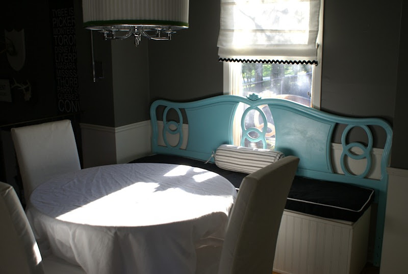 Headboard in the dining room at Junkyjunky.blogspot.com