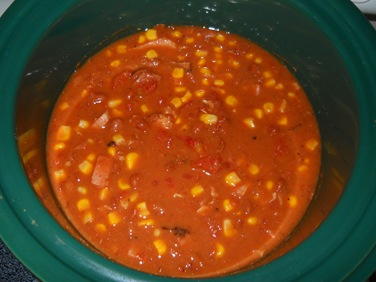 Spicy Corn, Bean and Ham Soup - all ingredients added, time to simmer