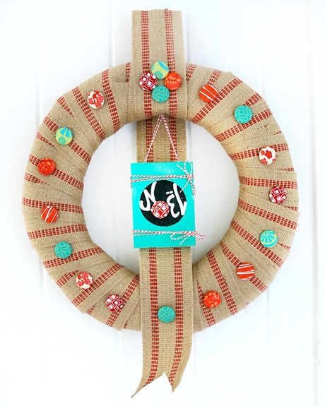 Covered Button Christmas Wreath