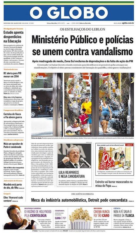 O GLOBO e a manchete previsível para a manifestação do Leblon - www.deubandeira.com.br