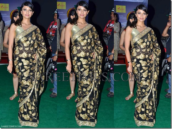 Pooja_Kumar_Black_Bollywood_Saree_IIFA_Awards