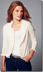 Pure Collection Ruffle Edge Cardigan
