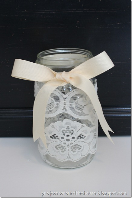 Mason Jar Ribbon and Lace Centerpiece