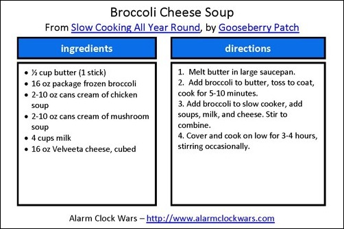 broccoli cheese soup recipe card
