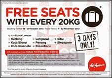 Air Asia FREE Seats with Every 20KG Promotion 2013 Deals Offer Shopping EverydayOnSales