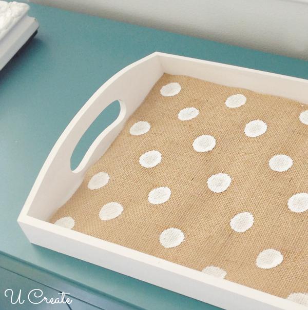How to Make a Polka Dot Burlap Tray