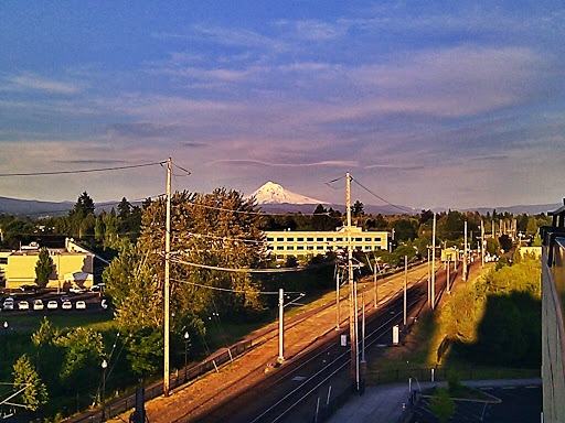 Mt. Hood at sunset from our balcony.