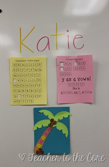 Name Art inspided by Chicka Chicka Boom Boom. Unit also includes vowel hunts and mystery pictures. This is how I start first grade and it  gets the students instantly identifying the vowels
