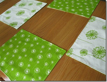 handmade white and green placemats