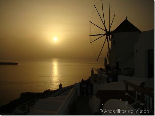 Por do Sol Santorini Oia Moinho de Vento Grecia