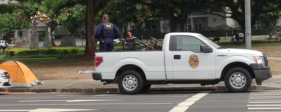 20130912 Bicycles in police truck