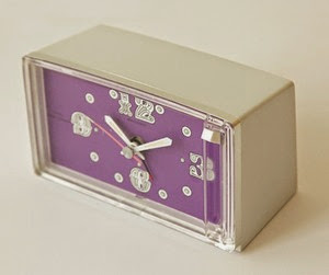 Diehl Mini clock battery operated alarm clock purple face oblique