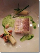 White fish w wild garlic white asperges and hazelnut at David Toutain