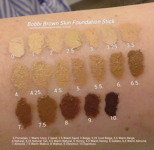 Bobbi Brown Skin Foundation Stick; Swatches of Shades-0 Porcelain, 1 Warm Ivory, 2 Sand, 2.5 Warm Sand, 3 Beige, 3.25 Cool Beige, 3.5 Warm Beige, 4 Natural, 4.25 Natural Tan, 4.5 Warm Natural, 5 Honey, 5.5 Warm Honey, 6 Golden, 6.5 Warm Almond, 7 Almond, 7.5 Warm  Walnut, 8 Walnut, 9 Chestnut, 10 Espresso