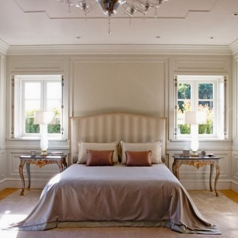 A paneled bedroom