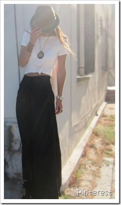 tied shirt maxi skirt
