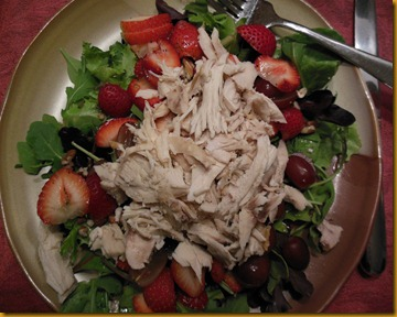 Leftover roasted chicken, pecans, strawberries and grapes Wild Field Greens with homemade vinaigrette