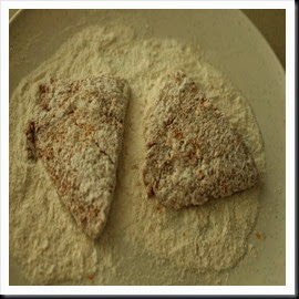 Marinated fish rolled in flour mixture