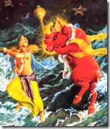 Varahadeva fighting Hiranyaksha