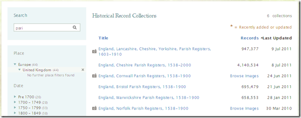 Filter and sort FamilySearch.org record collections list