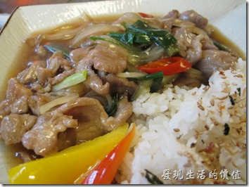 台南-奉茶。這是「蔥爆豬肉燴飯」,NT250。豬肉還蠻鮮嫩的,有一定的水準。因為是較便宜的商業午餐,所以沒有配菜,就這樣一盤燴飯。