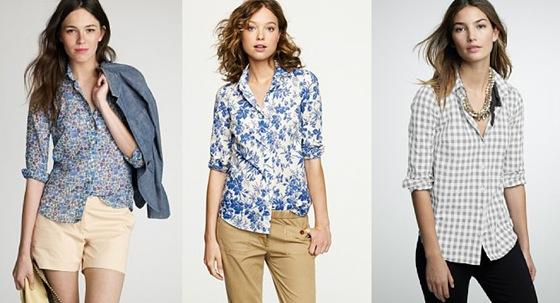 Camisas femininas com estampas charmosas.
