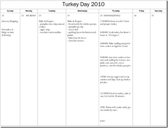 Turkey Dinner Calendar