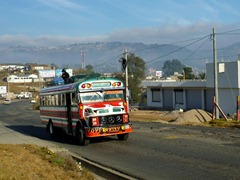 Chicken bus near Cuatro Caminos, Guatemala.  Note the jockey on the roof!
